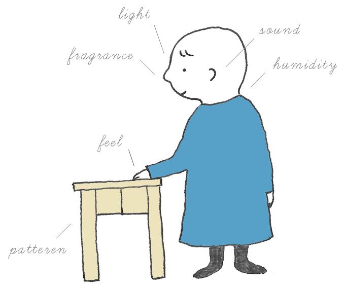 ひのきの机と男の子のイラスト