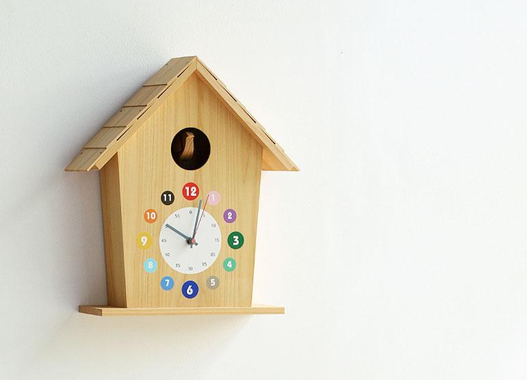 カッコー時計「ひのきの家」カラー   子供部屋にぴったり