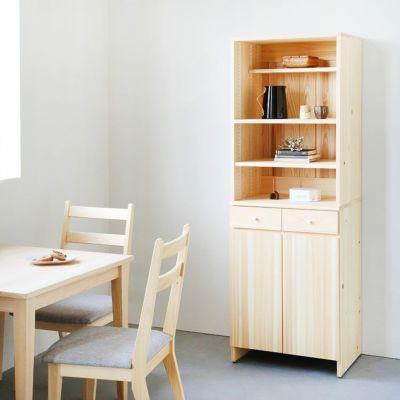 省スペースにぴったり、スリムな佇まい<br>キッチンボード A60 shelf /<br>サイズオーダーテーブル / Gチェア(ライトグレー)