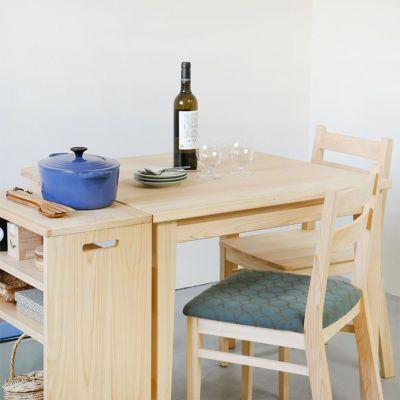 ダイニングのサイドテーブルとしても便利<br>オープンワゴン ハイ <br>ダイニングテーブル -EASY ORDER- / Dチェア <br> Dチェア min&#228; perhonen(スモーキーグリーン×ブラウン)