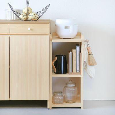 炊飯器の置き場所に最適<br>ランドセルラック シェルフ / キッチンカウンター A80<br>コの字ブックエンド くるみ