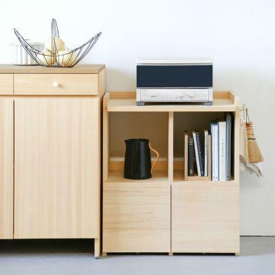 キッチン収納にも活用できるシンプルなデザイン<br>ランドセルラック ダブル / キッチンカウンター A80 / コの字ブックエンド(くるみ)