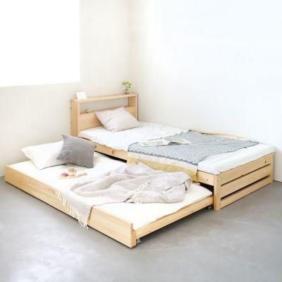 スライドベッドをあわせて親子の寝室に<br>ベッドM ヘッドボード / ベッドM スライドベッド<br>カッティングボード SS(ひのき)