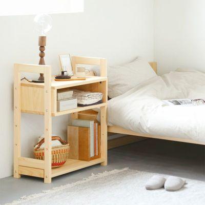 ベッド周りが使いやすくなる、収納力のあるサイドボード<br>ベッドM スタンダード / ボックスラック 60<br>ブックシェルフ 60 / コの字ブックエンド(サクラ)