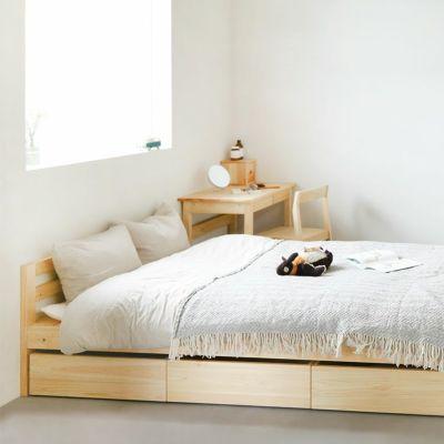 木のぬくもりに包まれるベッドルーム<br>ベッドM 収納ボックス / ベッドM スタンダード<br>デイベッド スタンダード / 4本脚デスク S50 / Fチェア<br>waku-subaco