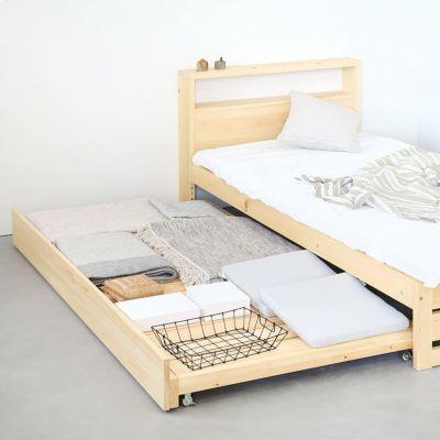 お子さまが成長したら、ラグなどの収納スペースに<br>ベッドM スライドベッド / ベッドM ヘッドボード