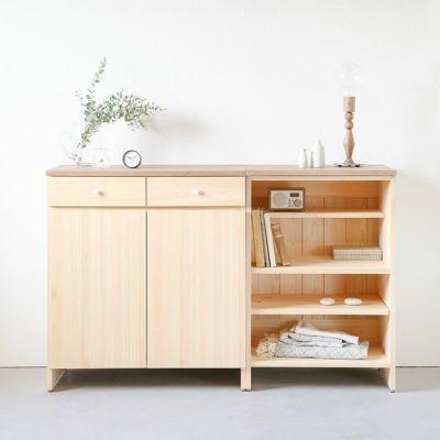 洋服や本など、マルチ収納としても活躍<br>キッチンカウンター A80(草木染め)<br>キッチンカウンター C60(草木染め)