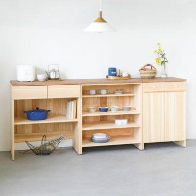 キッチンの壁面収納 3台並べて<br>キッチンカウンター C80(草木染め)<br>キッチンカウンター B80(草木染め)<br>キッチンカウンター A60(草木染め)