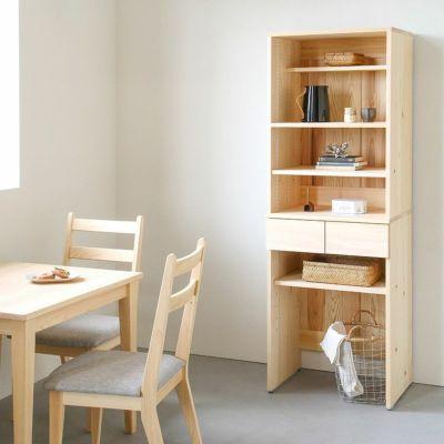 省スペースにぴったり、スリムな佇まい<br>キッチンボード B60(shelf)<br>ダイニングテーブル -EASY ORDER-<br>Gチェア basic color(撥水グレー)