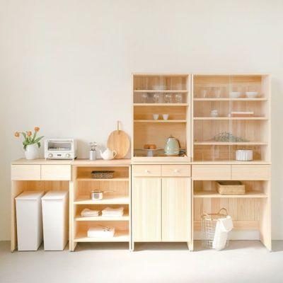 カウンターと合わせてリビングダイニング収納<br>キッチンボード B80(cupboard)<br>キッチンボード A60(utility)<br>キッチンカウンター B60(くるみ)<br>キッチンカウンター C60(さくら)