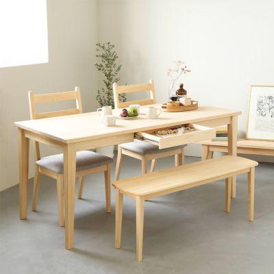 ひのきの優しい雰囲気溢れるダイニング<br>Gチェア basic color(撥水グレー)/ Dベンチ<br>ダイニングテーブル D hinoki 引出し付